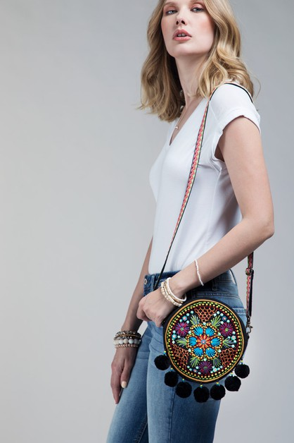 Vibrant Embroidered Tambourine Bag - orangeshine.com