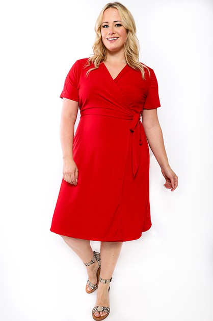 SHORT SLEEVE WRAP DRESS  - orangeshine.com