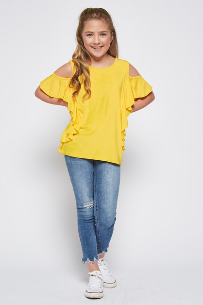 KIDS SIZE COLD SHOULDER RUFFLE TOP - orangeshine.com