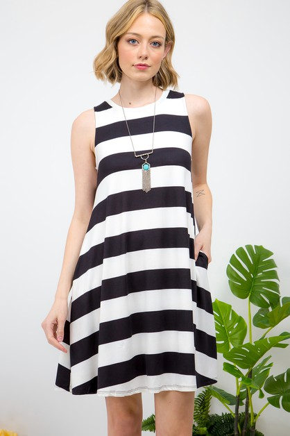 BOLD STRIPED SLEEVELESS DRESS - orangeshine.com