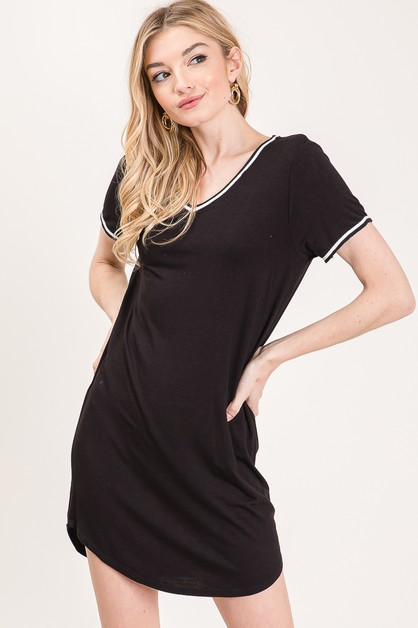 V Neck Short Sleeve Knit Dress - orangeshine.com