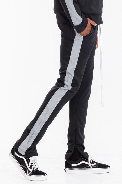 SLIM REFLECTIVE STRIPE TRACK PANTS - orangeshine.com