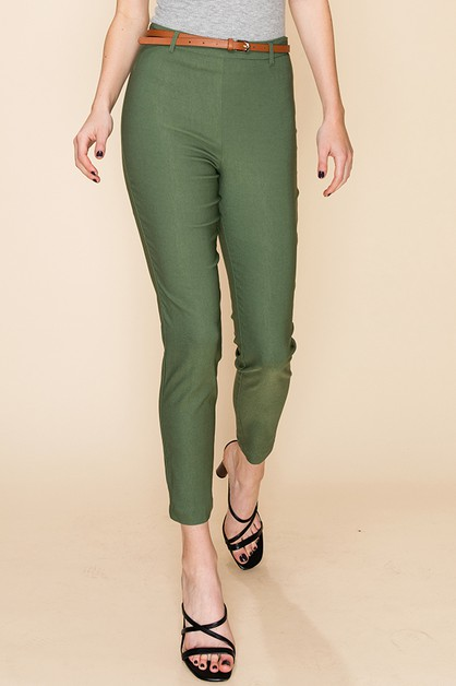 HIGH WAIST CAPRI BOTTOMS WITH BELT - orangeshine.com