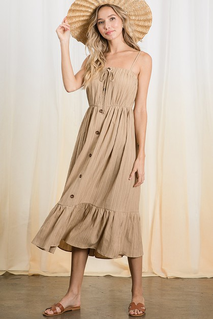 Open shoulder ruffle hem midi dress  - orangeshine.com