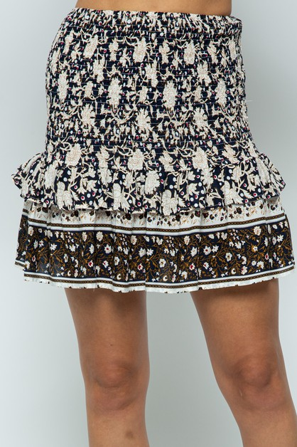 Smocked Border Mini Skirt With Ruffl - orangeshine.com