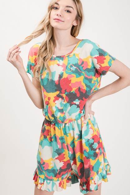 MULTICOLOR CAMO RUFFLED ROMPER - orangeshine.com