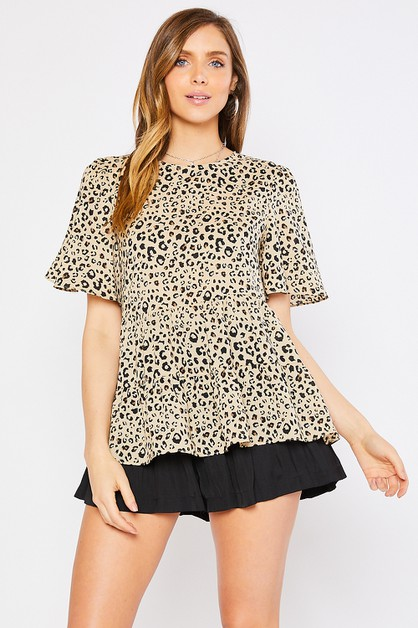 ANIMAL PRINT 2TIER BABYDOLL BLOUSE - orangeshine.com
