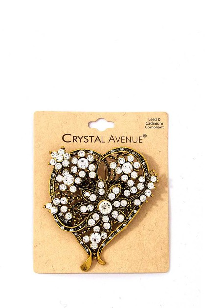 MULTI RHINESTONE HEART BROOCH - orangeshine.com