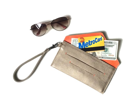 Gold Vegan Wallet and Wristlet - orangeshine.com