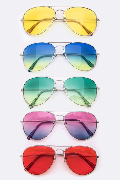 Mix Tone Aviator Sunglasses Set - orangeshine.com