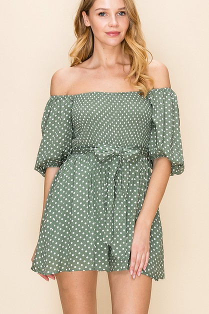 PUFF SLEEVE SMOCK TOP POLKA DOT DRES - orangeshine.com