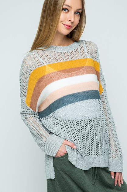 See through eyelet knit pullover swe - orangeshine.com