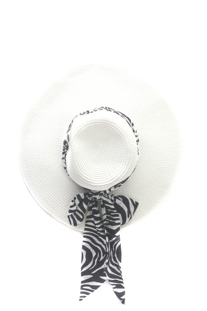 CC BRIM HAT WITH ANIMAL  PRINT SCARF - orangeshine.com