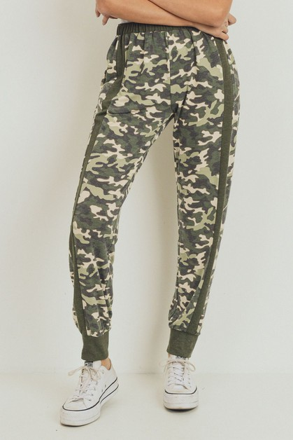 Camo Printed French Terry Side Pants - orangeshine.com