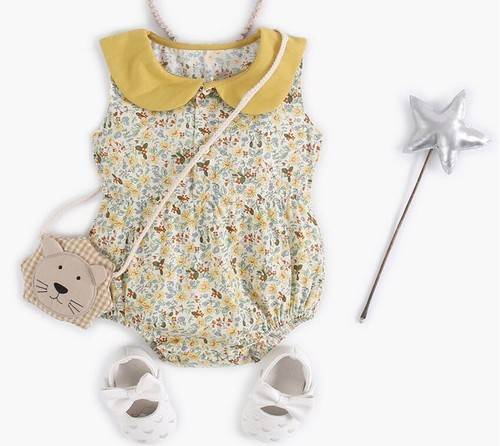 Floral Baby Romper with coller - orangeshine.com