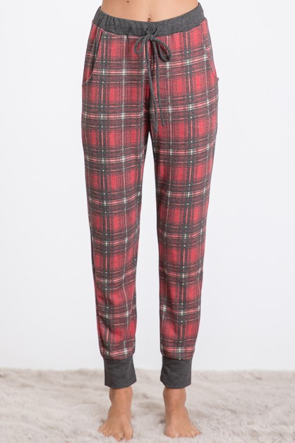 PLAID DRAWSTRING WAIST SWEATPANTS  - orangeshine.com