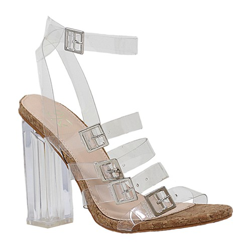 CLEAR STRAPS HIGH HEEL OPEN WITH FIV - orangeshine.com