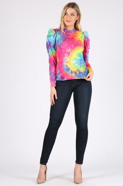 Tie-dye print top with puff sleeves  - orangeshine.com