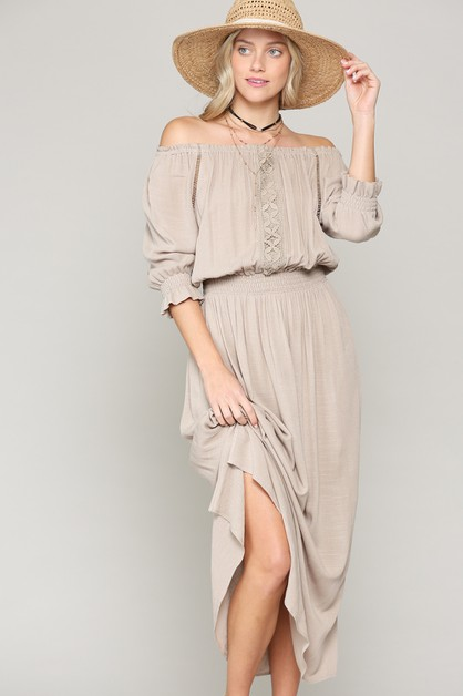 RAYON MAXI DRESS WITH SIDE SLIT - orangeshine.com