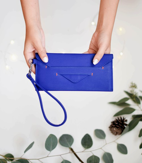 Royal Blue Vegan Wallet - orangeshine.com