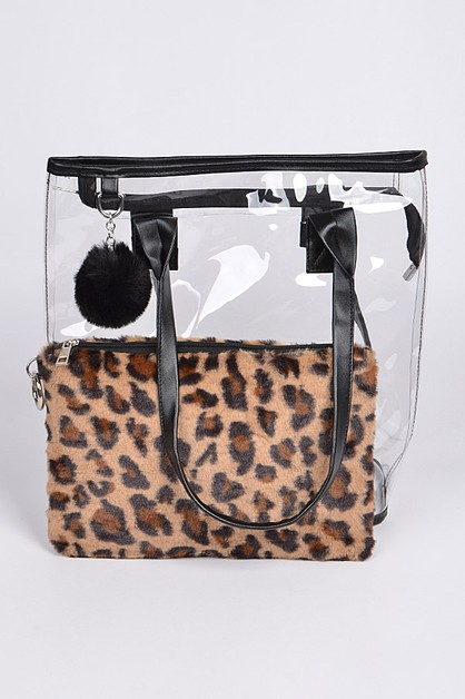 Clear Bag With Leopard Pouch - orangeshine.com