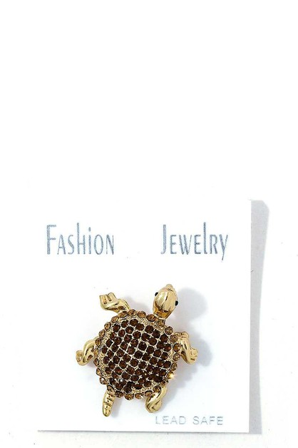 STYLISH RHINESTONE TURTLE BROOCH - orangeshine.com