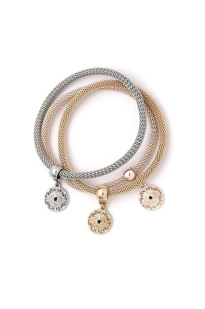EYE CHARM METAL BRACELET SET - orangeshine.com
