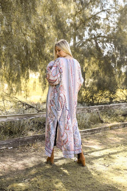 Color Stitch Long Kimono - orangeshine.com