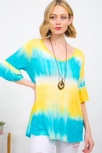 TIE DYE V-NECK BELL SLEEVE TOP - orangeshine.com