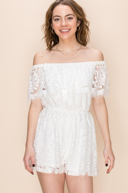 OFF SHOULDER LACE ROMPER - orangeshine.com