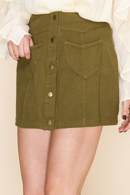 HIGH WAIST BUTTON UP MINI SKIRT - orangeshine.com