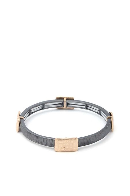 TWO TONE METAL STRETCH BRACELET - orangeshine.com