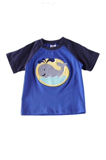 Blue whale applique boy raglan shirt - orangeshine.com