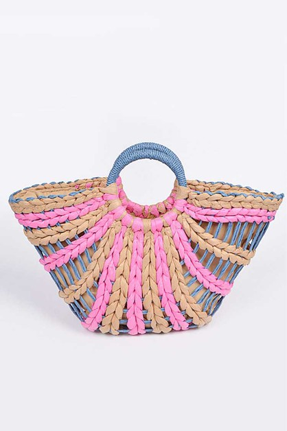Open Weaved Paper Straw Summer Tote - orangeshine.com