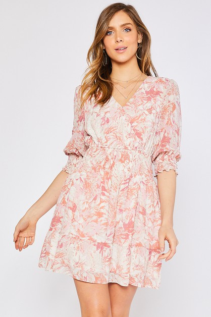 ABSTRACT FLORAL PRINT SURPLICE DRESS - orangeshine.com