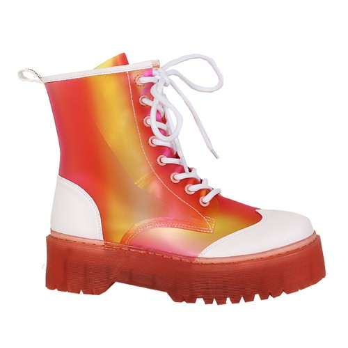 MULTI-COLORED LACE UP JELLY COMBAT B - orangeshine.com