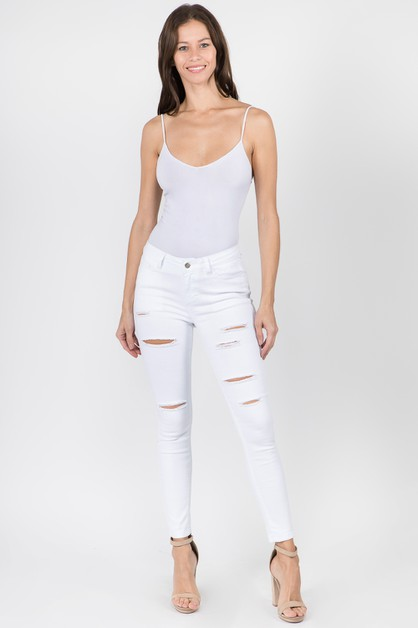 LOW WAIST DISTRESSED SKINNY JEANS - orangeshine.com
