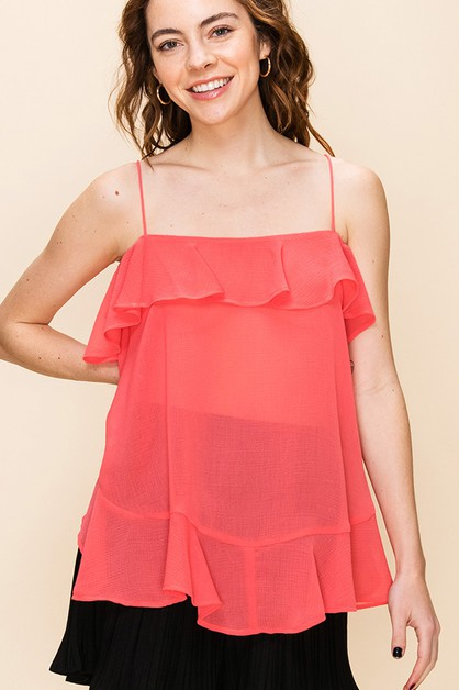 FLOWY THIN STRAP BLOUSE WITH RUFFLE - orangeshine.com