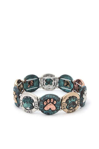 LIVE LOVE BARK PAW STRETCH BRACELET - orangeshine.com