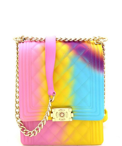 Quilted Rainbow Jelly Chain Shoulder - orangeshine.com