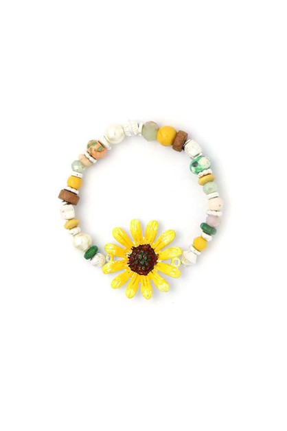 FLOWER BEADED STRETCH BRACELET - orangeshine.com