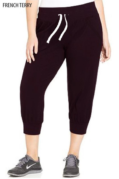 PLUS TERRY BASIC CAPRI JOGGER-POCKET - orangeshine.com