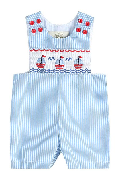 Blue stripe sail boat smocked boy - orangeshine.com