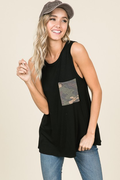CAMOUFLAGE CHEST POCKET TANK TOP - orangeshine.com