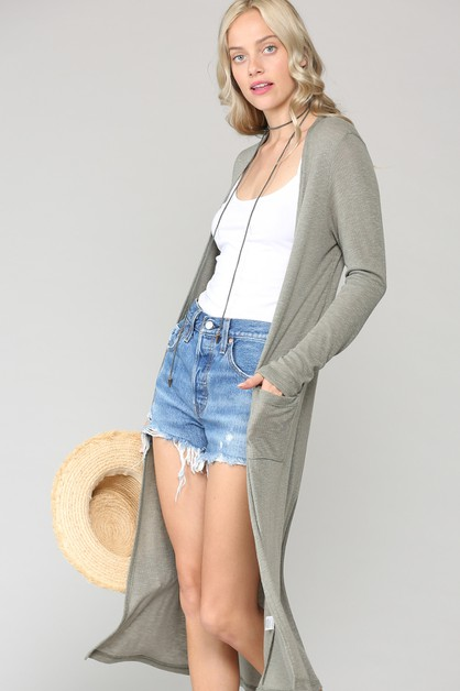 LONG SLEEVES LONG RIB CARDIGAN - orangeshine.com
