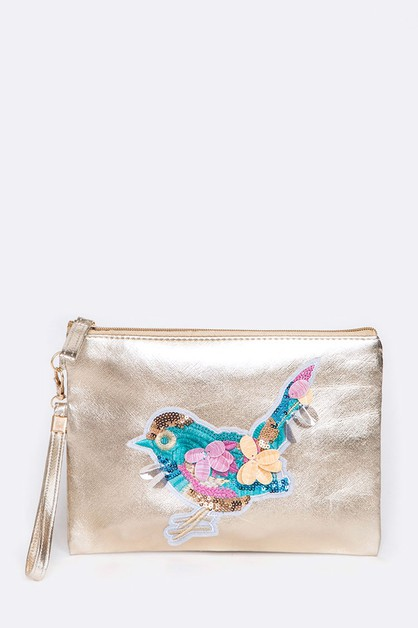 Embellished Bird Metallic Pouch Bag - orangeshine.com