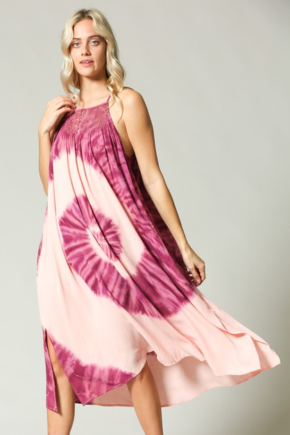 TIE DYE LOOSE FIT SLEEVELESS DRESS - orangeshine.com