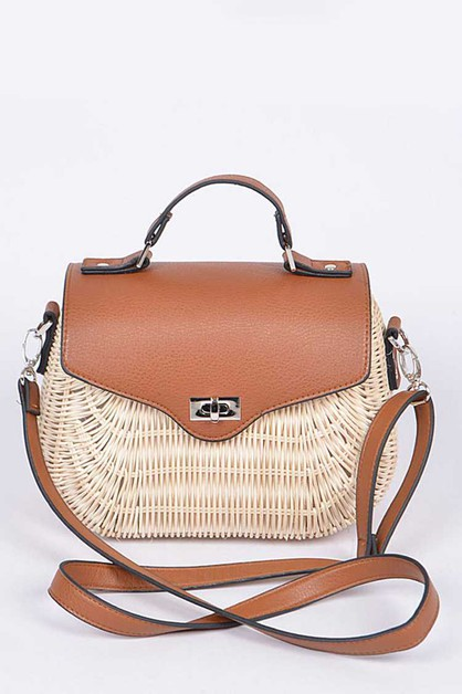Bamboo Weaved Twist Lock Iconic Bag - orangeshine.com
