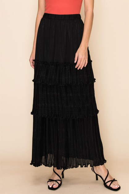 RUFFLE LAYER MAXI SKIRTS - orangeshine.com