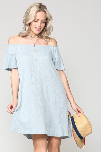 SOLID OFF SHOULDER RUFFLED DRESS - orangeshine.com